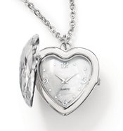 Heart Locket Necklace Watch