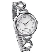 Easy-to-Read Silvertone Link Watch