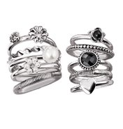 Chic Stackable Ring Set - White & Black