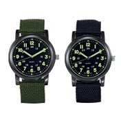 Military Style Canvas Strap Watch in Black & Olive