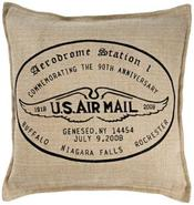 U.S. Air Mail 18  Square Jute And Cotton Throw Pil