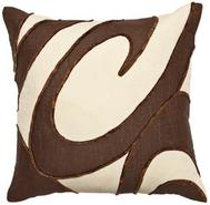 Chocolate Ecru Swirls Pillow (F8167)