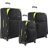 Somerset 3 Piece Luggage Set Black/lime - Pierre C