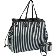 Stripe Drawstring Tote and Mini Wristlet - - Tote