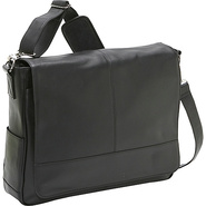 Royce Leather Messenger Bag - Black