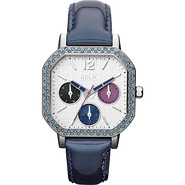 Ladies  Auburn  Glitz Blue Patent Strap Watch Blue