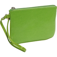 Lizard Print Calf Small Wristlet - Lime