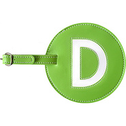 Leather Initial &#39;D&#39; Luggage Tag Set of 2 Green - p