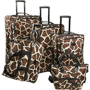 Animal Print 5-Piece Luggage Set Giraffe Brown - A