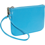 Lizard Print Calf Small Wristlet - Blue