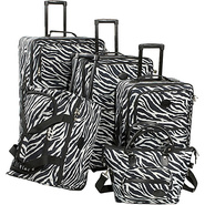 Animal Print 5-Piece Luggage Set - Zebra