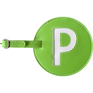 Leather Initial &#39;P&#39; Luggage Tag Set of 2 Green - p