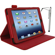 Dual-View Leather Case w/ Stylus for iPad Mini Red