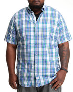 Men Mini Plaid Button Down (B&T) Blue Xlt