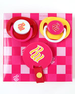 Girls 3 Pack Pacifiers (Newborn) Red
