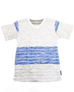 Boys Slub Striped V-Neck Tee (8-20) Grey 14/16 (L)