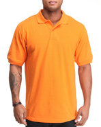 Men Pique Solid Polo Orange Xx-Large