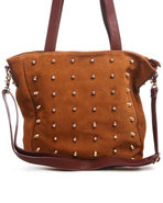 Women Diamond Studded Suede Leather Tote Bag Brown