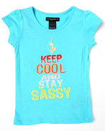 Girls Keep Calm & Sassy Tee (4-6X) Light Blue 6X