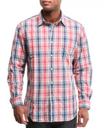 Men Vineyard Poplin Plaid Button-down Shirt W/ Dou