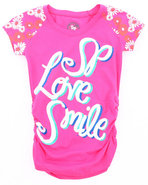 Girls Smile Tee W/ Headband (7-16) Pink 14/16 (Xl)