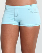 Women Stoned Denim Look Seamless Short Blue Large