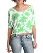 Women Hi-Lo Flower Knit Top Green Large