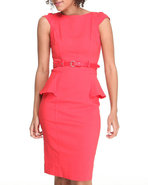 Xoxo Women Cap Sleeve Peplum Belted Dress Orange 1