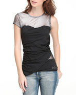 Women Mesh Paneled Fashion Top Black Medium