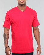 Men Plain Short Sleeve V-Neck Red Xx-Large
