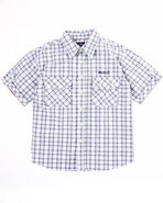 Boys Plaid Woven Shirt (8-20) Black 18/20 (Xl)