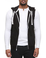 Men French Terry Sleeveless Zip Up Hoodie Black X-