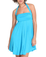 Women Halter Sun Dress Teal Small