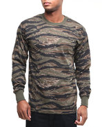 Men Tiger Stripe Camo Long Sleeve Tee Shirt Camo X