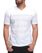 Men Thin Stripe Vneck Tee White X-Large