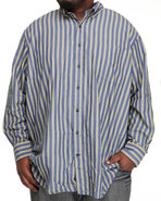 Men Long Sleeve Bold Stripe Button Down (B&T) Blue