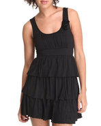 Women Ruffle Tiered Sun Dress W/ Flowers Black Med