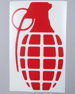 Men Grenade 8.5  Die Cut Sticker Red