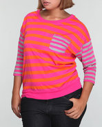 Women 3/4 Sleeve Stripe Top (Plus) Pink 1X
