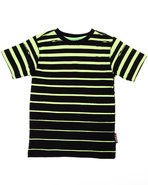 Boys Printed Stripe Crew Neck Tee (4-7) Black 5/6