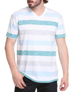 Men Streak Striped V-Neck Tee Blue Large