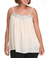 Women Sequin Collar Chiffon Tank (Plus) Ivory 2X