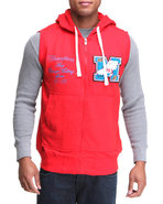 Men French Terry Hoodie Vest W/ Patch Detail Red M