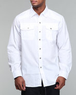 Mo7 Men Woven Solid L/S White Medium