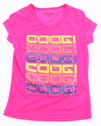 Coogi Girls V-Neck Logo Tee (7-16) Pink Small