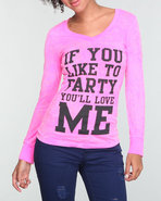Women Printed Neon Long Sleeve Burnout Pink Large