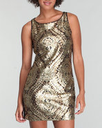 Xoxo Women Metallic Jacquard Sheath Dress Gold 00