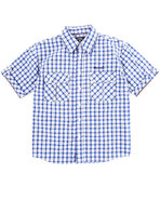 Boys Plaid Woven Shirt (8-20) Blue Large