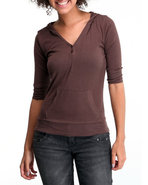 Women Ribbed Hoodie Henley Brown Small