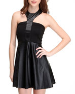 Women Halter Neck Bustier Skater Skirt Dress Black